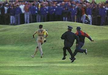 Get him!  He's making golf fun!